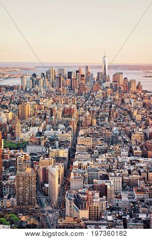 Aerial View Of Skyline In Downtown Lower Manhattan Ny America