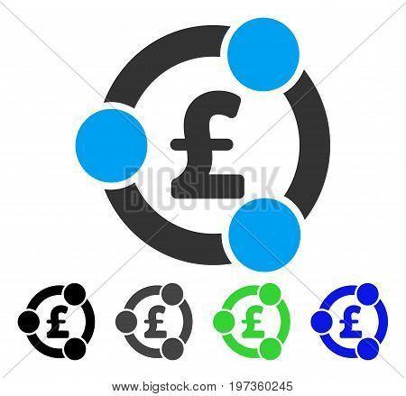Pound Financial Collaboration flat vector pictograph. Colored pound financial collaboration gray, black, blue, green icon variants. Flat icon style for web design.