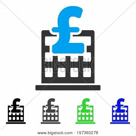 Pound Financial Company Building flat vector illustration. Colored pound financial company building gray, black, blue, green icon variants. Flat icon style for graphic design.