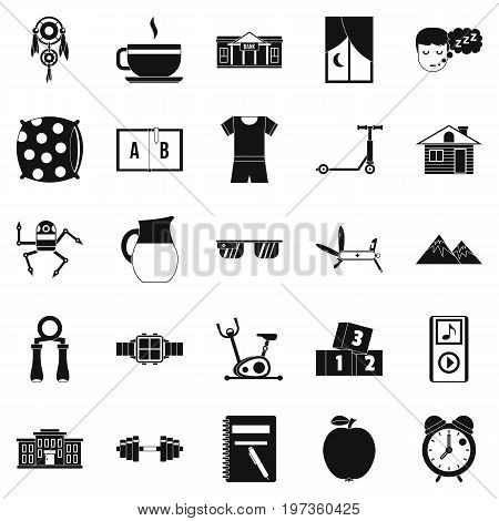 Alarm clock icons set. Simple set of 25 alarm clock icons for web isolated on white background