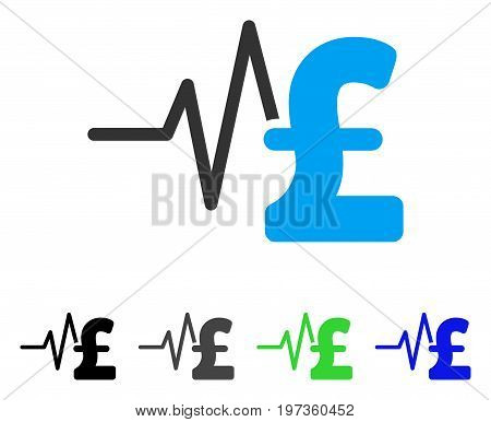Pound Financial Pulse flat vector illustration. Colored pound financial pulse gray, black, blue, green pictogram versions. Flat icon style for graphic design.