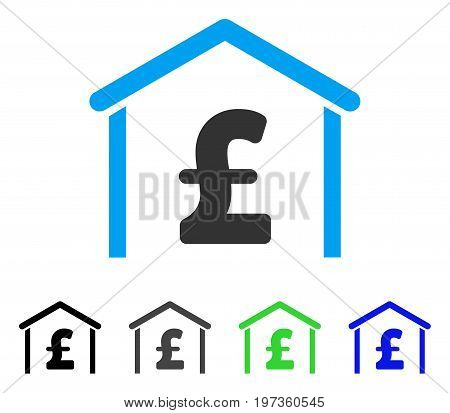 Pound Garage flat vector pictograph. Colored pound garage gray, black, blue, green pictogram variants. Flat icon style for web design.