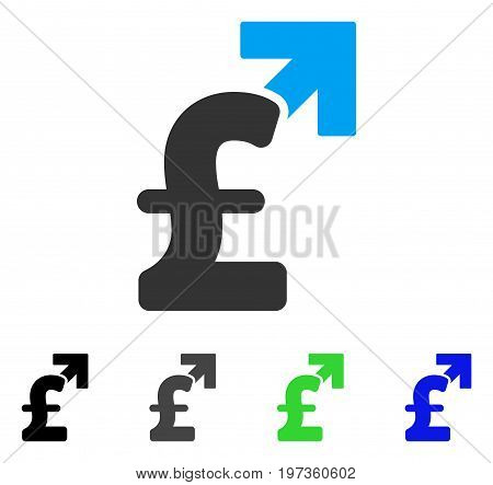 Pound Growth flat vector pictogram. Colored pound growth gray, black, blue, green icon versions. Flat icon style for application design.