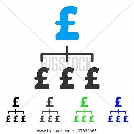 Pound Hierarchy flat vector pictogram. Colored pound hierarchy gray, black, blue, green pictogram versions. Flat icon style for application design.