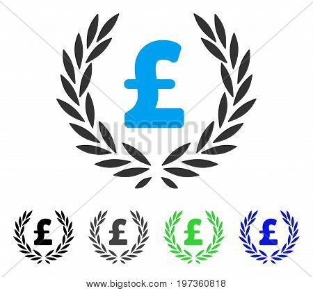Pound Laurel Wreath flat vector illustration. Colored pound laurel wreath gray, black, blue, green icon versions. Flat icon style for web design.