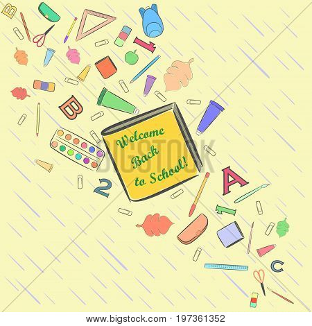 Flow of Falling School Stuff  with a Slanting Rain on the Background and Place for Text on the Central Book. September 1 Vector Illustration.