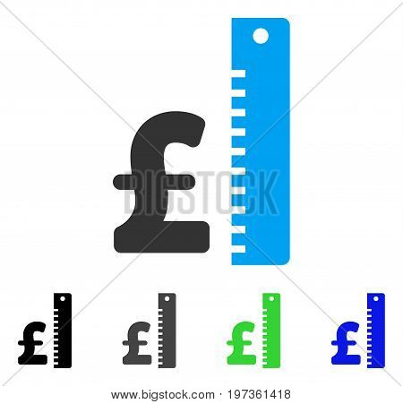 Pound Rate flat vector illustration. Colored pound rate gray, black, blue, green pictogram versions. Flat icon style for graphic design.