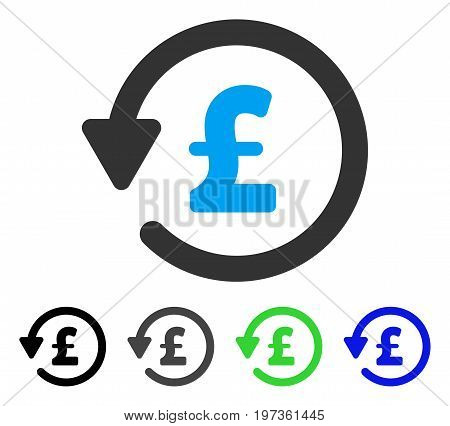 Pound Rebate flat vector illustration. Colored pound rebate gray, black, blue, green pictogram versions. Flat icon style for graphic design.