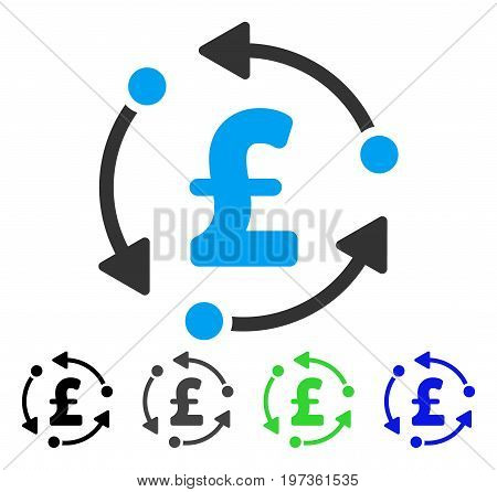 Pound Rotation flat vector illustration. Colored pound rotation gray, black, blue, green icon variants. Flat icon style for web design.