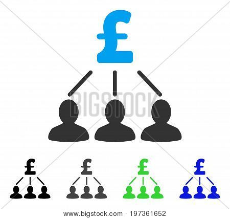Pound Shareholders flat vector pictograph. Colored pound shareholders gray, black, blue, green pictogram versions. Flat icon style for application design.