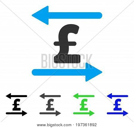 Pound Transactions flat vector icon. Colored pound transactions gray, black, blue, green icon versions. Flat icon style for web design.