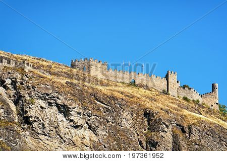Tourbillon Castle In Hill In Sion Capital Valais Switzerland