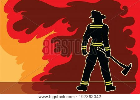 Fireman Standoff is an illustration of a silhouetted fireman or firefighter in a strong proud stance as if to warn the fire and flames not to challenge him.