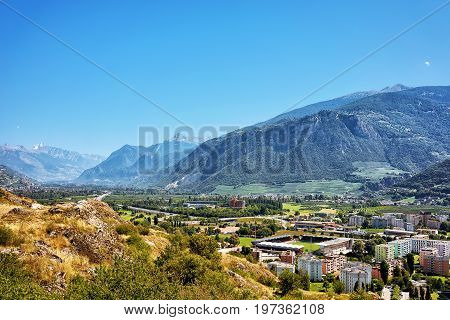 Sion Cityscape Of Rhone Valley Bernese Alps Capital Valais Switzerland