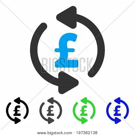 Refresh Pound Price flat vector illustration. Colored refresh pound price gray, black, blue, green icon versions. Flat icon style for web design.