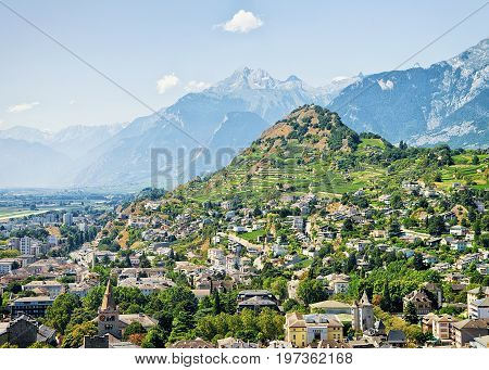 Sion Cityscape At Rhone Valley Bernese Alps Capital Valais Switzerland