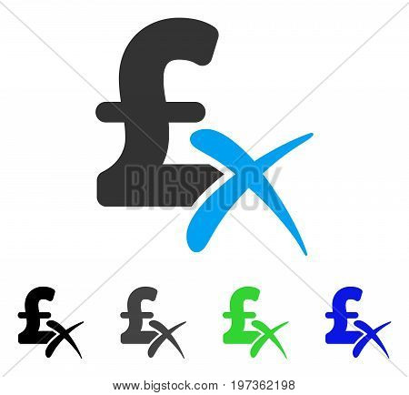Reject Pound flat vector icon. Colored reject pound gray, black, blue, green icon versions. Flat icon style for application design.