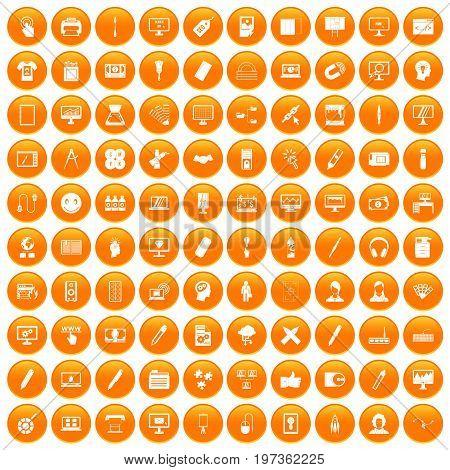 100 webdesign icons set in orange circle isolated on white vector illustration