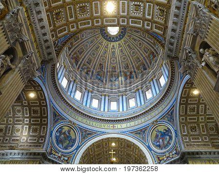 19.06.2017 Vatican City: Indoor interior of St. Peter's Basilica St. Peter's Square Vatican City.