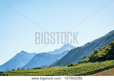 Landscape Of Sion With Bernese Alps Mountains Capital Valais Switzerland