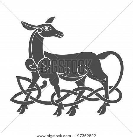 Ancient celtic mythological symbol of doe. Vector knot ornament.