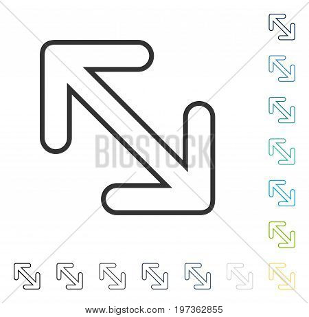 Flip Arrows Diagonal icon. Vector illustration style is flat iconic symbol in some color versions.