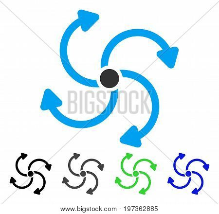 Fan Rotation flat vector icon. Colored fan rotation gray, black, blue, green pictogram versions. Flat icon style for application design.