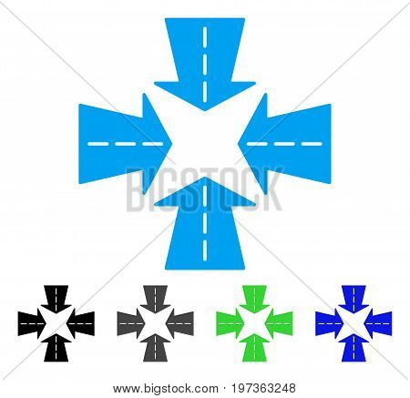 Merge Directions flat vector icon. Colored merge directions gray, black, blue, green icon versions. Flat icon style for graphic design.