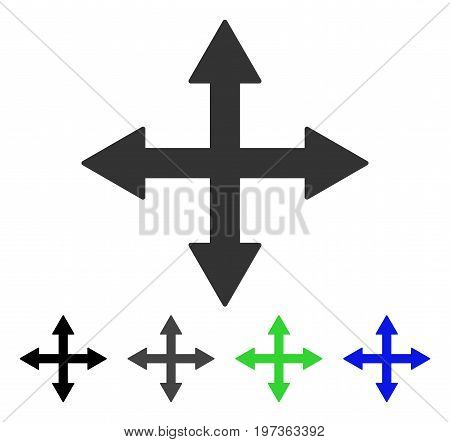 Quadro Arrows flat vector icon. Colored quadro arrows gray, black, blue, green icon versions. Flat icon style for application design.
