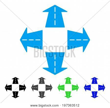 Road Directions flat vector pictogram. Colored road directions gray, black, blue, green pictogram versions. Flat icon style for application design.