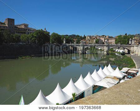 19.06.2017 Roma Italy: Sant' Angelo Bridge to the Mausoleum of Hadrian