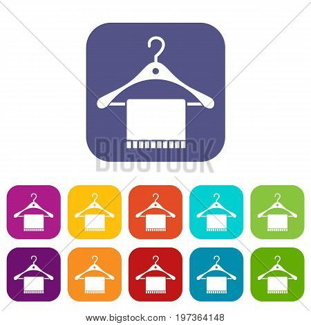 Scarf on coat hanger icons set vector illustration in flat style in colors red, blue, green, and other
