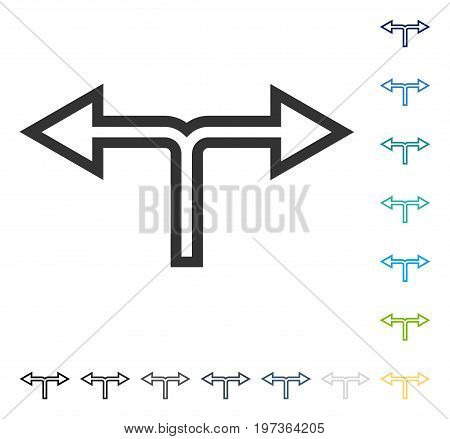 Junction Left Right icon. Vector illustration style is flat iconic symbol in some color versions.