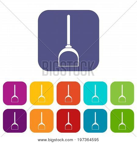 Scoop for cleaning icons set vector illustration in flat style in colors red, blue, green, and other