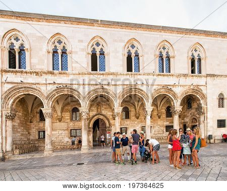 Tourists At Rector Palace At Stradun Street In Dubrovnik