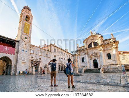 St Blaise Church And Belfry At Stradun Street In Dubrovnik