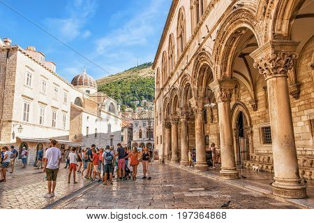 People At Rector Palace On Stradun Street In Dubrovnik
