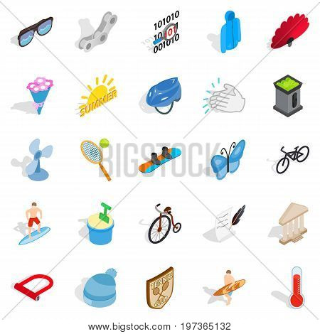 Sport for relaxation icons set. Isometric set of 25 sport for relaxation vector icons for web isolated on white background