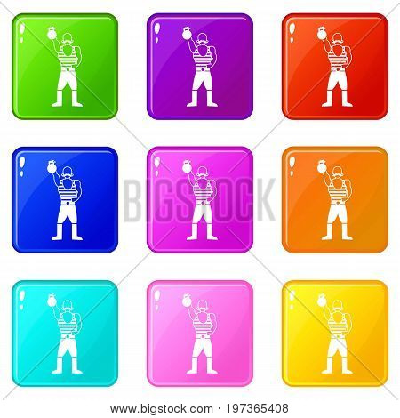Strong man with kettlebell icons of 9 color set isolated vector illustration