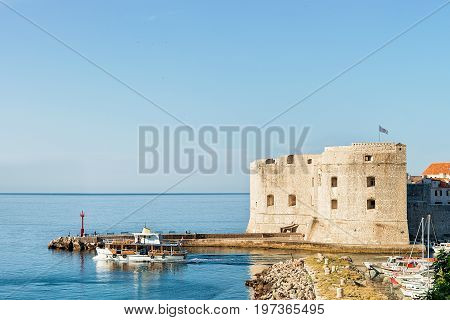 Saint John Fortress And Boats In Old Port In Dubrovnik