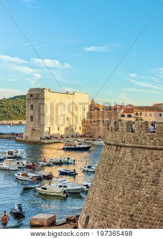 Saint John Fortress And Ships At Old Port In Dubrovnik