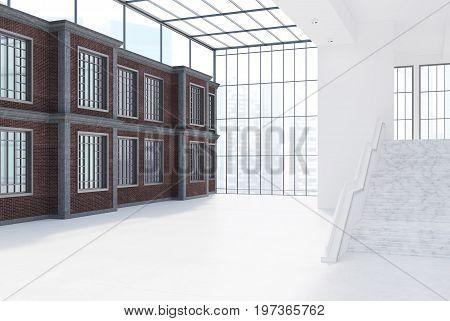 Empty Brick Office With Windows