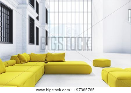 Office waiting area with a panoramic window yellow sofas and pouffes and a white wall with windows in it. 3d rendering mock up