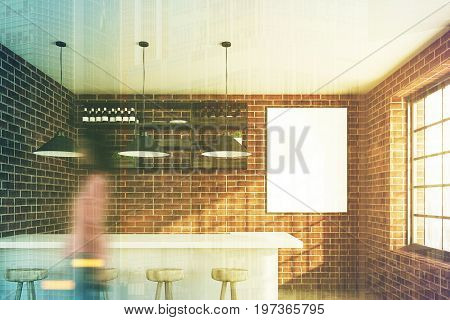 Brick wall cafe with a white bar stand a row of stools a vertical poster hanging near a wooden shelf and three ceiling lamps. Woman. 3d rendering mock up toned image double exposure