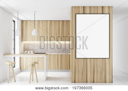 Wooden Kitchen Interior With A Bar, Poster