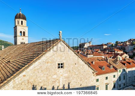 Franciscan Monastery On Stradun Street In Old City Dubrovnik