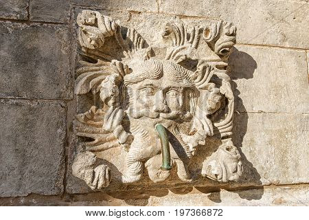 Fragment Of Big Onofrio Fountain In Old City Dubrovnik