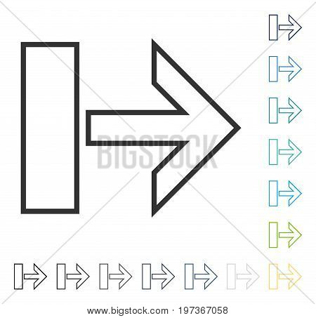 Pull Arrow Right icon. Vector illustration style is flat iconic symbol in some color versions.