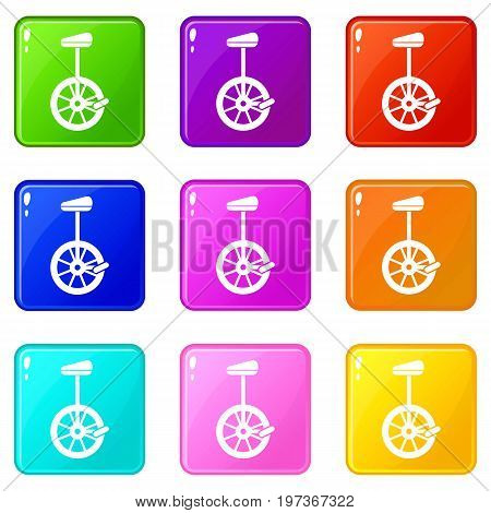 Unicycle icons of 9 color set isolated vector illustration