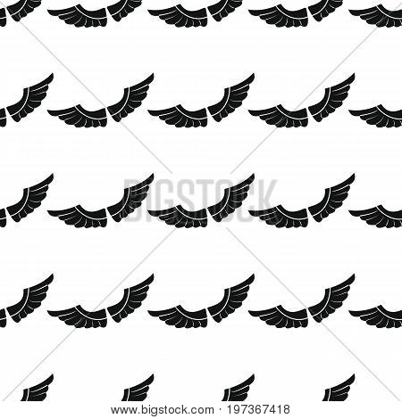 Wings seamless pattern vector illustration background. Black silhouette wings stylish texture. Repeating wings seamless pattern background for your design and web
